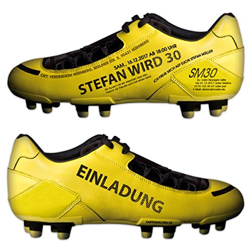ne Einladungskarten Geburtstag Einladung individuell Fußballschuh Gelb ()
