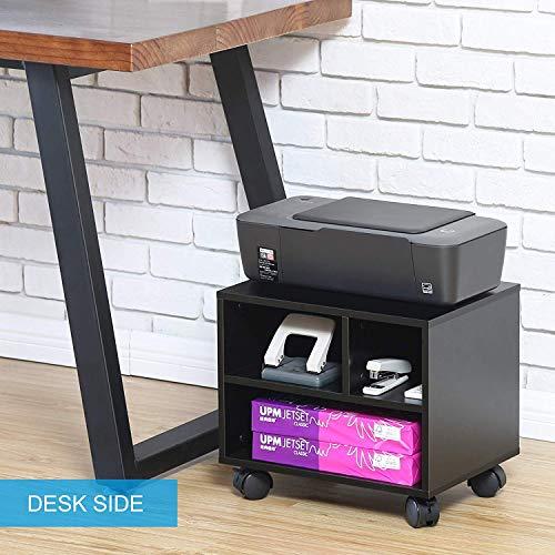 ner Multifunktionswagen Schreibtischcontainer Büroschrank Drucker Ständer aus Holz schwarz PS304003WB ()