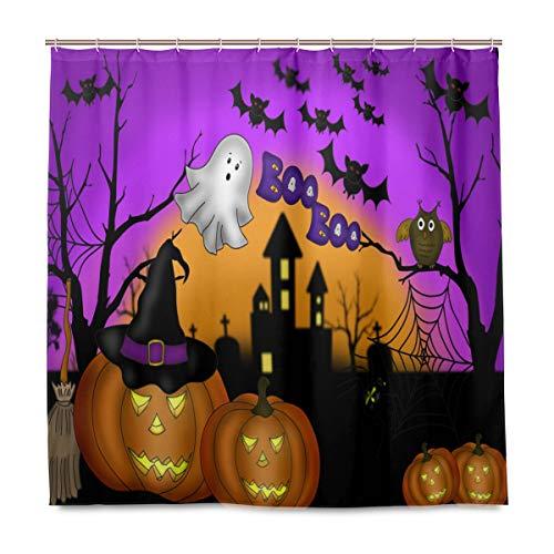 (Wamika Badezimmer Dusche Vorhang Halloween Kürbis Gost Design Haltbarer Stoff Bad Vorhänge Schimmelresistent Wasserdicht Badezimmer 12Haken 183,0cm x183,0cm)