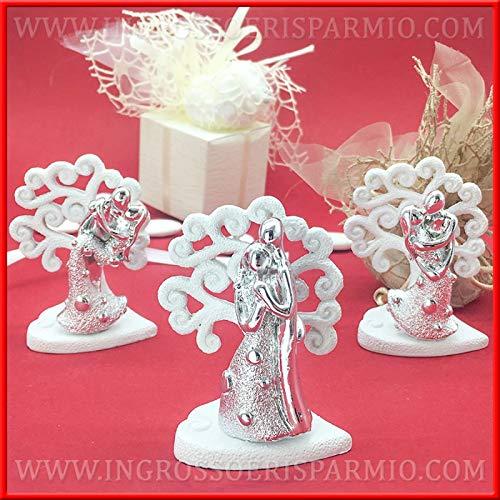Ingrosso e risparmio statuine di sposini in miniatura in resina argentata su base albero della vita bianco, bomboniere, pensierini matrimonio, nozze d'argento (con confezione panna)