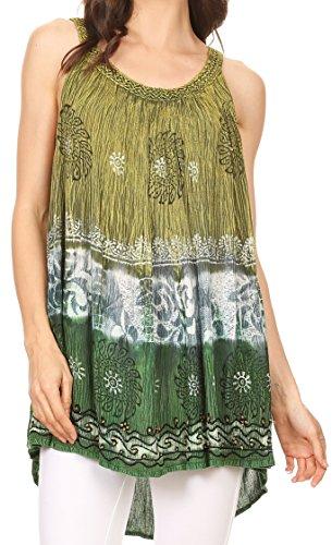 Sakkas 86877 - Cecily Crinkle Floral Batik Tank mit Pailletten und Stickerei - Lemon Green - OS -