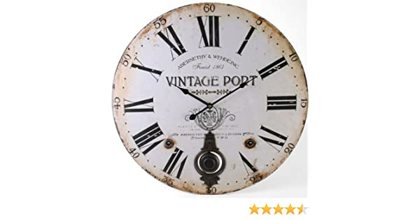 ad1607d74bc2 Large Traditional Vintage Port Round Pendulum Wall Clock: Amazon.co.uk:  Kitchen & Home