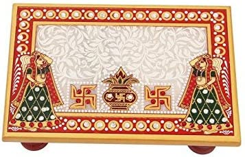 Handicrafts Paradise Kalash Design Rectangle Shape Marble Pooja Chowki (15.3 cm x 10.2 cm x 2.55 cm),Multicolor