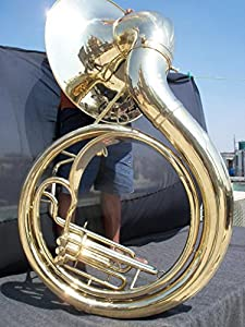 Full Brass Jumbo 24-inch Bell Zweiss BBb Sousaphone. Natural brass finish