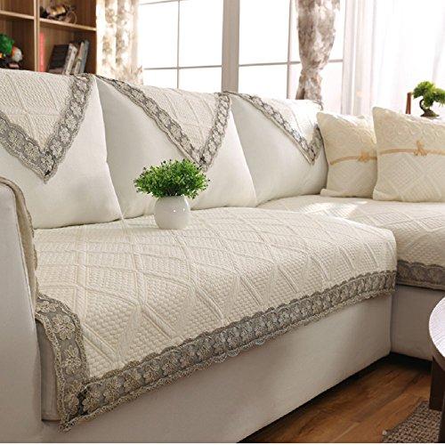 DW&HX Reine farbe Sofa möbel protector für hund,100 % baumwolle Sofabezug Volltonfarbe Verdicken sie Sofa werfen abdeckungen Anti-rutsch Gesteppter Spitze -E 35x71inch(90x180cm) (Couch Loveseat Liege)