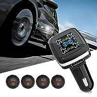 TPMS Tire Pressure Monitor System, Konesky Tyre Pressure Monitoring System LCD Display with 4 Sensors Alarm (External Sensor)
