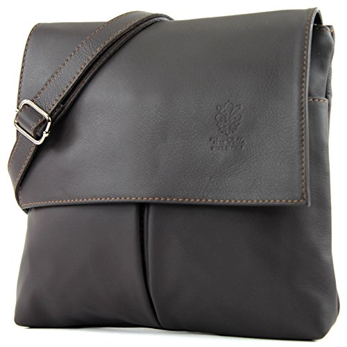 modamoda de - T63 - ital Umhänge-/Schultertasche Nappaleder, Farbe:Dark Chocolate - Leder Messenger Handtasche