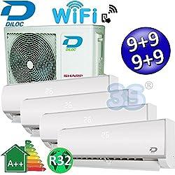 Climatizzatore inverter quadri split FROZEN R32 9000+9000+9000+9000 Btu DILOC classe A++/A+ funzione smart WIFI