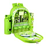 Confidence Picnic Backpack Hamper Bright Green Polkadots Inc Plates, Cutlery