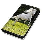Hülle Galaxy S6 Hülle Samsung S6 G920 Schutzhülle Handyhülle Flip Cover Case Samsung Galaxy S6 G920 (OM1019 Pferd Hengst auf Wiese Weiß)