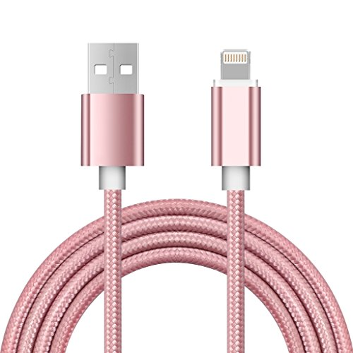 HEROUNION 2 in 1 cavo doppio sicuro e stabile Micro USB cavo di ricarica rapido per Andrews e telefono cellulare Apple (oro rosa, confezione da 2) Oro rosa