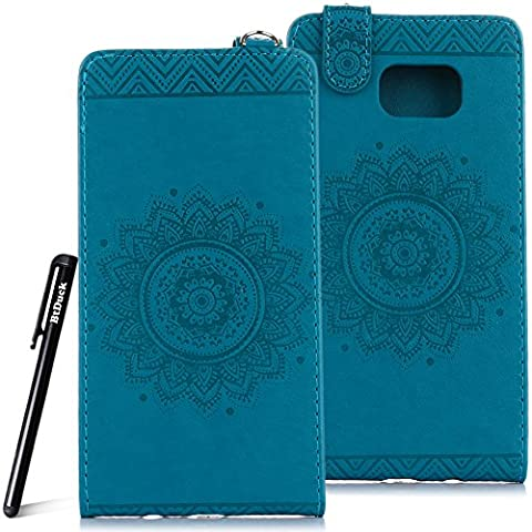 Case for Samsung Galaxy Note 5 wallet Embossed Flowers case,SM - N9200 Ceramic pattern flip cover,BtDuck protective case Blue shell Retro Buddhism Solid color special Vertical opening skin Case for Open vertically Holster Full-body protection machine Totem Anti-scratch Shock Resistant Strong magnetic buckle Magnet Closure [with Lanyard Strap / Rope] Credit Card/Cash Holder Slot - Blue
