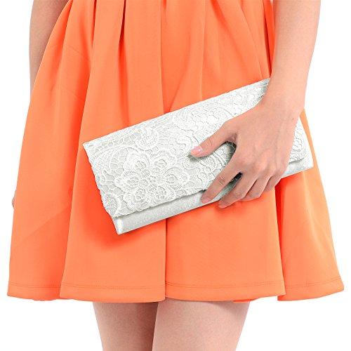 Luxus Spitze Damen Clutch Abendtasche Damentasche Handtasche Brauttasche mit Kette (weiss) - 2