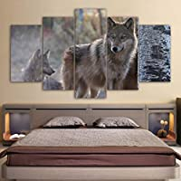 KQURNXSL Modern wall art poster frame home decoration 5 panels animals Wolf living room canvas HD print painting modular images