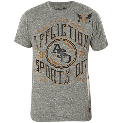 Affliction T-Shirt Home Of Brave Flag Grau, XXL (T-shirt Flag Rebel)