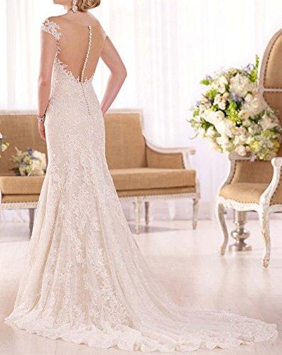 Changjie Damen Kappen-H¨¹lse Brautkleider Hochzeitskleider Meerjungfrau Kristall Perlen Hochzeitskleider Lang Elegant Weiß
