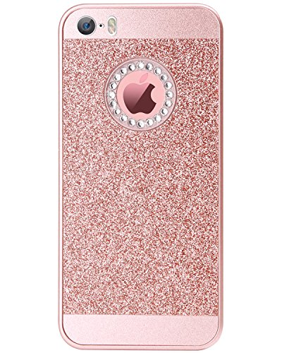 Cover iPhone 5, Custodia iPhone SE, Cover cellulare BENTOBEN PC Bling Luccicanti Diamanti Artificiali di Cristallo Protettivo Cover per iPhone 5 5S SE,Rosa Oro M453-Oro Rosa