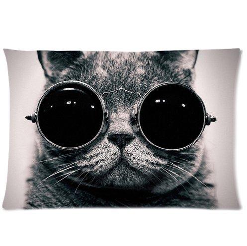 Custom Steampunk Cat Cute, Sonnenbrille Katze Rechteck Kissen Kissen Bezug, 50,8x 76,2cm (eine Seite Druck)