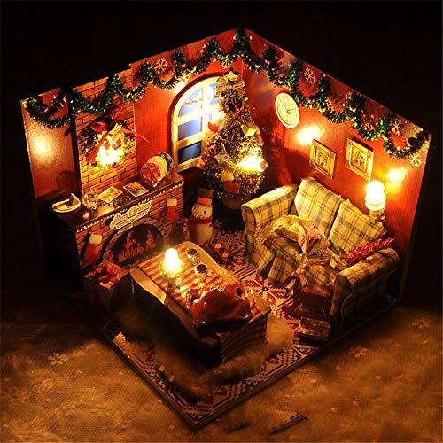 Miniaturhaus für Puppenhäuser, Cadeaux créatifs Assembler une petite maison pour Noël Kits d'artisanat de serre 3d miniatures pour adultes - Maison de poupées en bois avec meubles et accessoires, joue