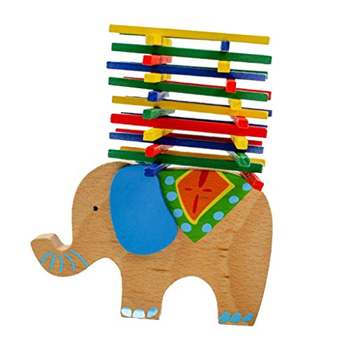 Blesiya Bebé Eduacational Elephant Balance Beam Game Blocks Niños Juguetes De Madera