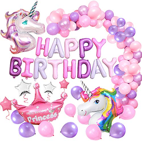 MMTX Suministros de Decoraciones de Fiesta de Unicornio, Enorme Globo de Unicornio, Feliz Cumpleaños Ballon Banner, para Niña Pequeña Fiesta de Cumpleaños de Dama de Niño, Boda (Unicornio)