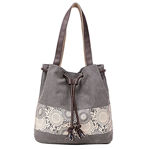 BYD - Donna Female Canvas secchiello Bag Borse a spalla School Bag with PU Leather Strap with Printed Flower Design