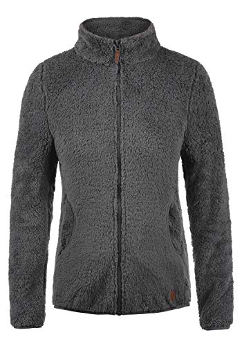 DESIRES Telsa Damen Fleecejacke Teddyfleece Zip-Jacke Sweatjacke Mit Stehkragen Und Taschen, Größe:S, Farbe:Castlerock (9486)