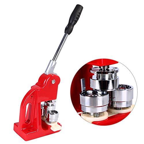 5 8cm (2 28'') Badge Maker Machine, Badge Punch Press Button Maker with  1000 Button Parts and Circle Cutter (58mm)