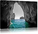 Felsenbucht im Meer schwarz/weiß Format: 120x80 auf Leinwand, XXL riesige Bilder fertig gerahmt mit Keilrahmen, Kunstdruck auf Wandbild mit Rahmen, günstiger als Gemälde oder Ölbild, kein Poster oder Plakat