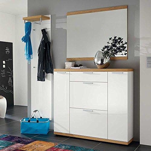 Pharao24 Garderobenmöbel Set mit Spiegel Eiche furniert