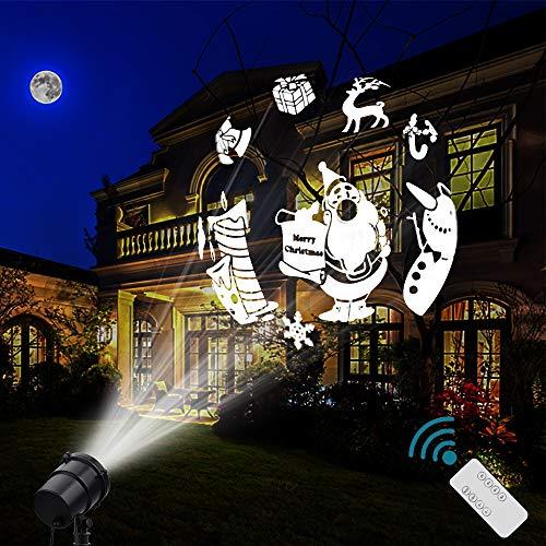 Lampada da proiezione a led di natale 16 figure faretto impermeabile ip65 luce di paesaggio rotante 3d illuminazione per la decorazione di pareti interne ed esterne