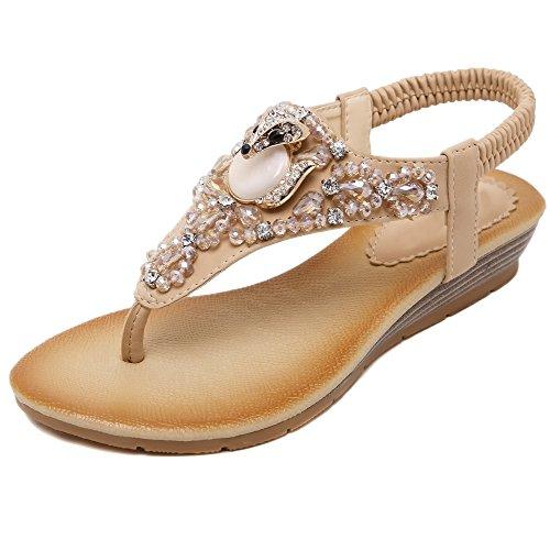 aux femmes tongs Chaussures en sandale Of Flowers Strass Styles de Bohemia abricot