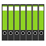 7 x Akten-Ordner Etiketten/Design Aufkleber/Rücken Sticker/mit Farbe Grün/für schmale Ordner/selbstklebend / 3,7 cm breit