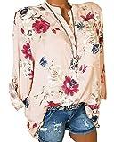 ShallGood Donna Camicia Basic Blusa Chiffon Floreale Maglietta Manica Lunga Casual Sexy Ufficio V-Scollo Camicetta Elegante Top Tunica con Tasche B Rosa IT 44
