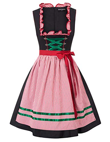 Damen 2 Kostüm - SCARLET DARKNESS Damen Dirndl Kleid-Oktoberfest Kostüm Midi Kleid, 2 Stücke:Kleid, Schürze, für Partei Cocktailkleid L