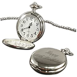 Happy 40th Birthday pocket watch chrome finish, personalised / custom engraved in gift box - pwc