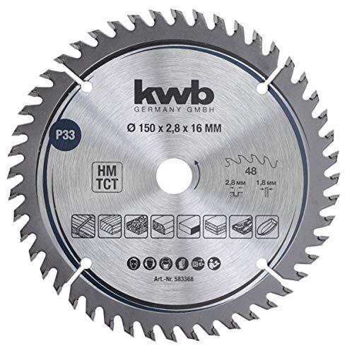 kwb 583368 Tischler-Kreissäge-Blatt, Holz-/Hartholz, 150 x 16 mm Schnitte, hohe Zahl, 48 Zähne Z-48, Präzisions-Sägeblatt fein, 150 x 16