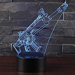 Arma SCAR Guns Lámpara de Noche 3D Illusion Cambio Automático de 7 Colores Led Visual Lamp Regalos de Cumpleaños para Hombres Niños Amigos