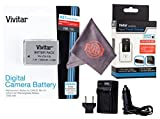 Vivitar NB-10L Ultra High Capacity Rechargeable 1300mAh Li-ion Battery + AC/DC Vivitar Rapid Travel Charger + Microfiber Lens Cleaning Cloth for CANON PowerShot (Canon NB-10L Replacement)
