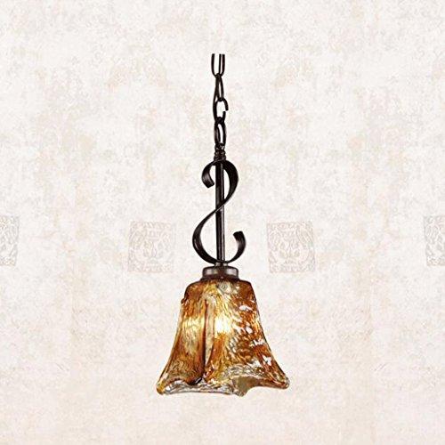 lustre GAODUZI Rustique Bar Comptoir Passageway Mystérieux Fer Lampe Vintage Lampe Ambre Soufflé Ombre Art Fait à la Main E27