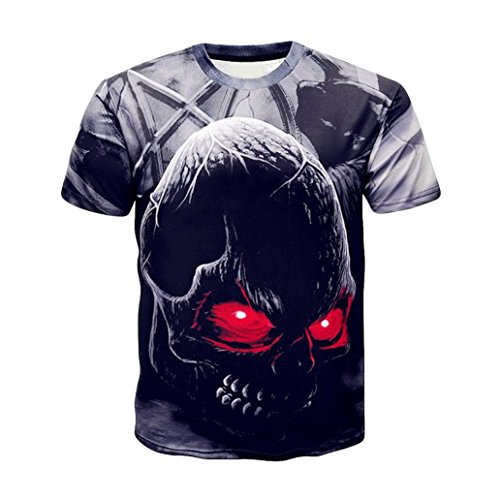 Skull Themed Series Mens 3D Druck Terro Skull Lässige Kurzarm Shirt Top Bluse,Schwarz Gelb Rot,XXL