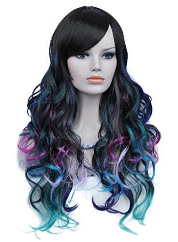 ShowPower Aux Femmes Longue Frisé Ondulé Noir Rose Rouge Violet Bleu Mixte Cheveux Cosplay Fête Perruque + Perruque Casquette