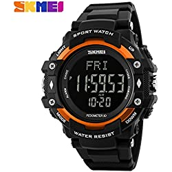Multifunction Climbing Dive LCD men's Wristwatch digital Sport Watches 50M Waterproof Men Digital Watches(Orange)