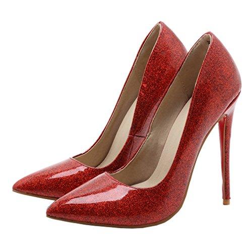 ENMAYER Femmes Slip Sur Talons Aiguilles Toe Pointu Escarpins Rouge