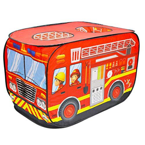 deAO Faltbares Spielzelt für Kinder im Feuerwehrauto-Design.Großartiges Geschenk für den Innen- und Außenbereich. Ideal für Mädchen& Jungen im Alter von 3, 4, 5 Jahren.