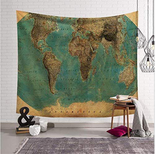 Hippie Mandala World Map Tapestry Vintage Blanket Bedspread Home Dorm Living Room DecorationTapestry-200X150CM (Halloween Ebay Vintage)