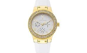 Timothy Stone Collection FAÇON Silicone - Reloj Mujer de cuartzo, Color Oro/Blanco