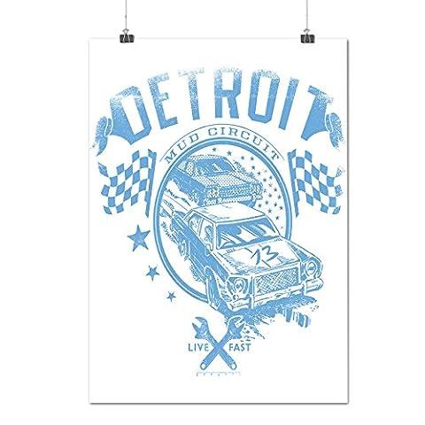 Detroit Boue Circuit Nascar Se Matte/Glacé Affiche A4 (30cm x