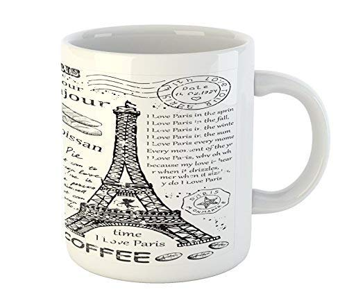 Paris Mug Traditional Famous Parisian Elements Bonjour Croissan Coffee Eiffel Tower Print Printed Ceramic Coffee Mug Water Tea Drinks Cup
