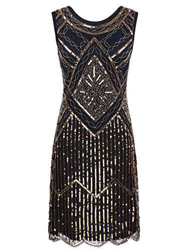 inlese 1920 Pailletten Perlen Double Sided ausgebogter Rand Flapper Kleid Gold S ()